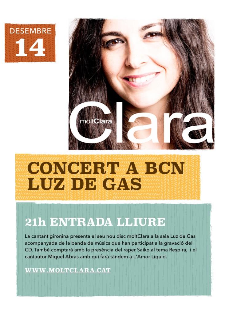 cartell concert moltClara Luz de Gas Barcelona 2015