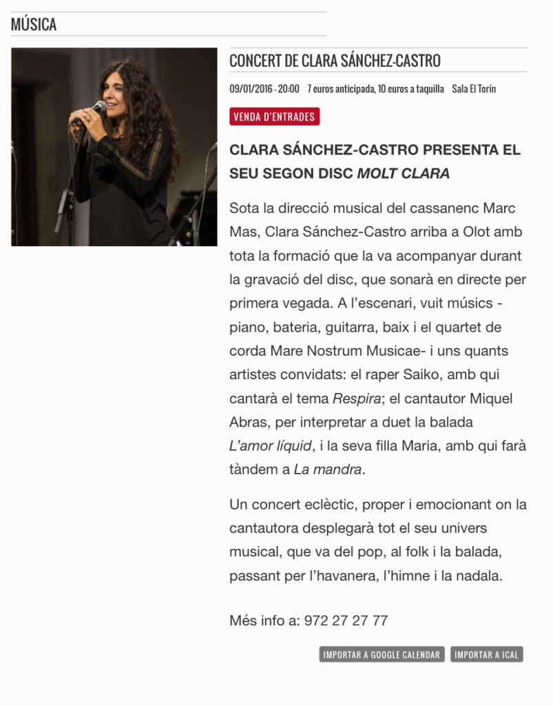 olotcultura.cat concert moltClara 9 de gener Sala Torín