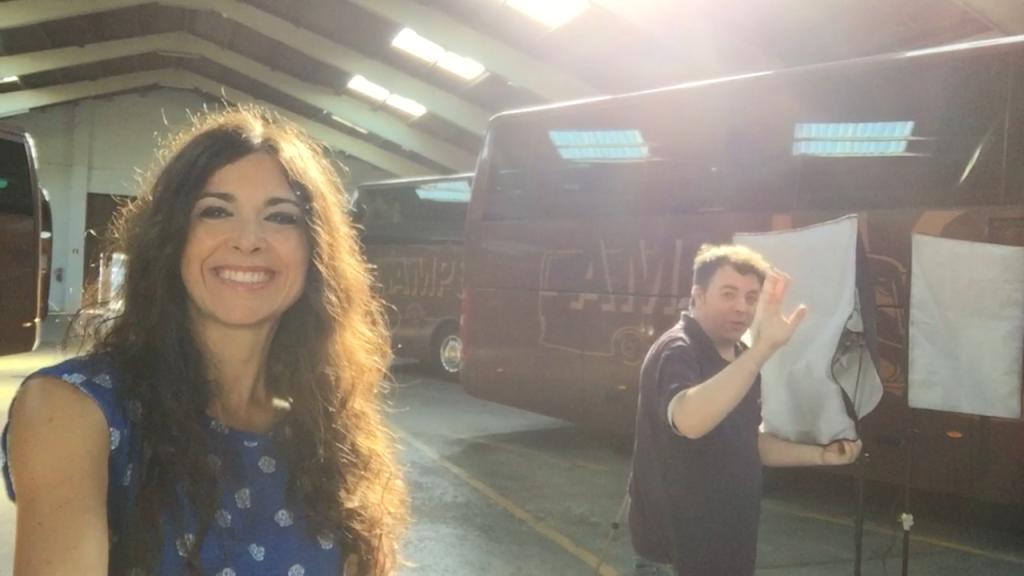 selfie Clara i Javier García gravació videoclip respira moltClara