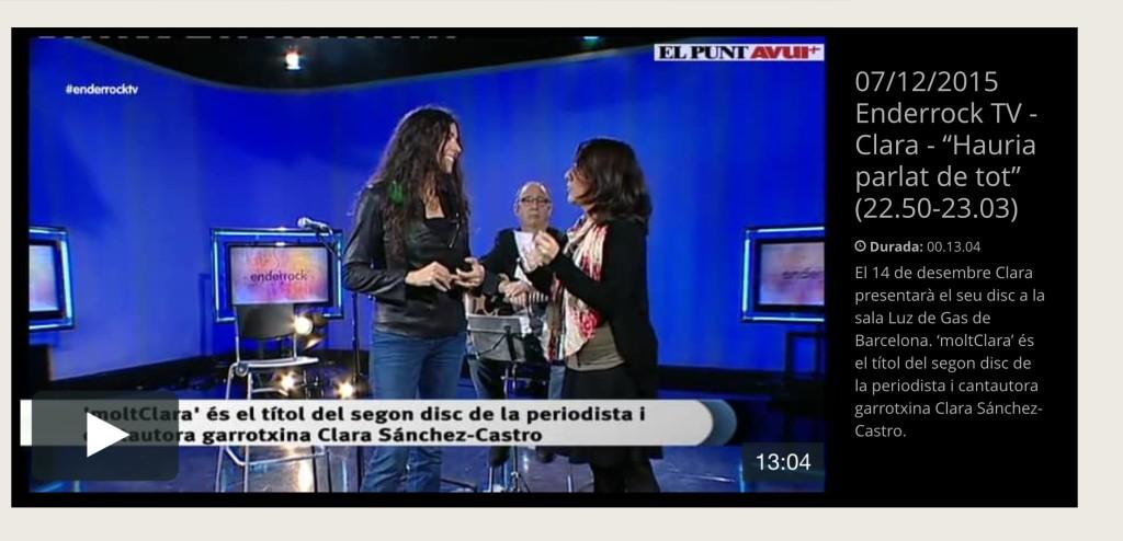 Clara al programa Enderrock TV 7-12-2015